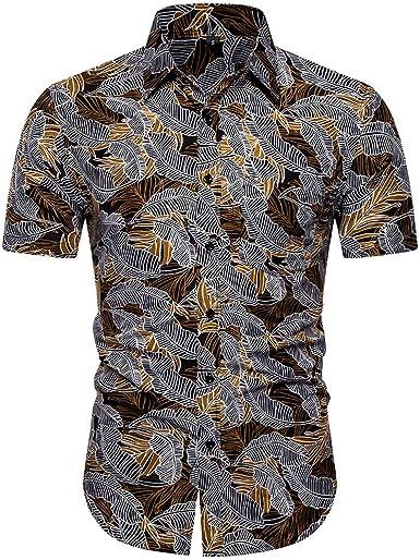 Camisa Hombre Estampada de Hawaiana Hoja Funky Camisas Manga ...