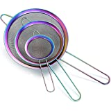 Rainbow Fine Mesh Strainer 3 Pieces Set, Colorful Flour Sifter For Baking, Stainless Steel Clander, Mutil-Color Matcha Tea St