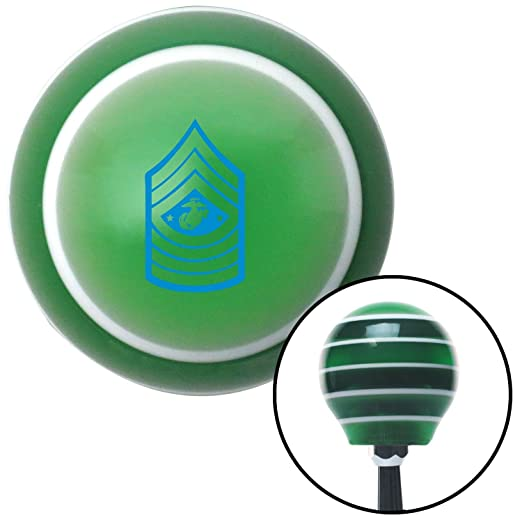 American Shifter 125430 Green Stripe Shift Knob with M16 x 1.5 Insert Blue 11 Sergeant Major of The Marine Corps