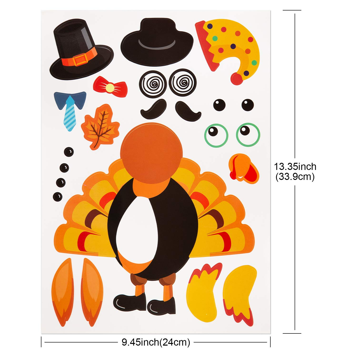 Great Party Game for Thanksgiving Day Party AIEX Make-A-Turkey Stickers 20Pcs Thanksgiving Turkey Stickers for Thanksgiving Party Decorations