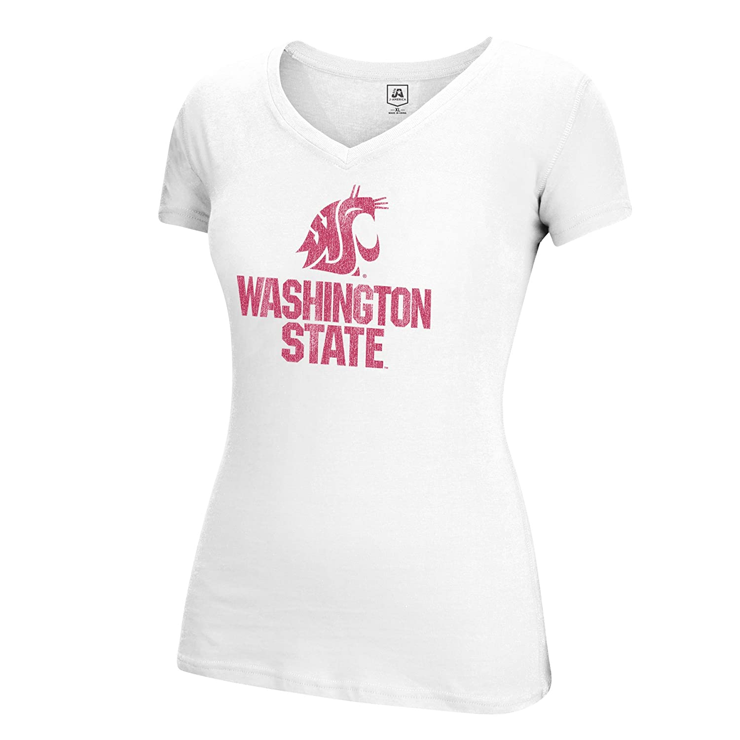 J America NCAA Washington State Cougars Womens Large Mascot Essential Tee Large White