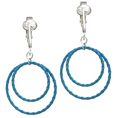 Bright Cute Blue Hoops Clip On Earrings For Unpierced Ears Medium