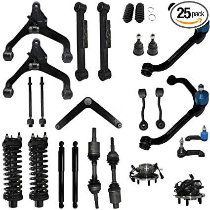 Detroit Axle - 25pc -For 2002 2003 2004 Jeep Liberty Rebuild Kit- Front  Axles, Struts, (4) Control Arms, Wheel Bearings w/ABS, Tie Rods, Ball  Joints,