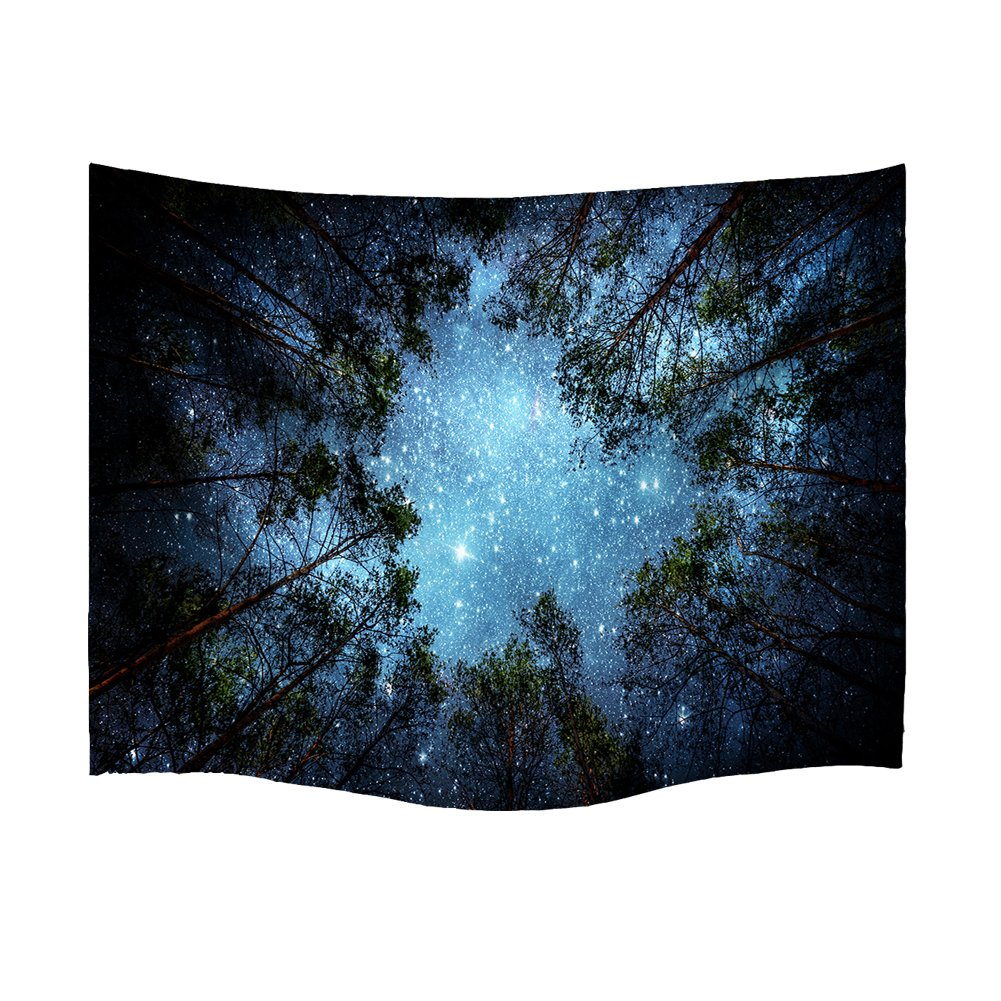 Gemostore 3D Forest Starry Sky Tapestry Wall Art India Hippy Bohemian Mandala Hanging Tapestry for Living Roon Bedroom