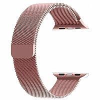 top4cus para Correa de Apple Watch, Electrochapeado Doble Milanese Aro Reemplazo de Acero Inoxidable iWatch Pulsera con Cerradura magnética para Apple Watch (Oro Rosa, 38mm Longitud Regular)