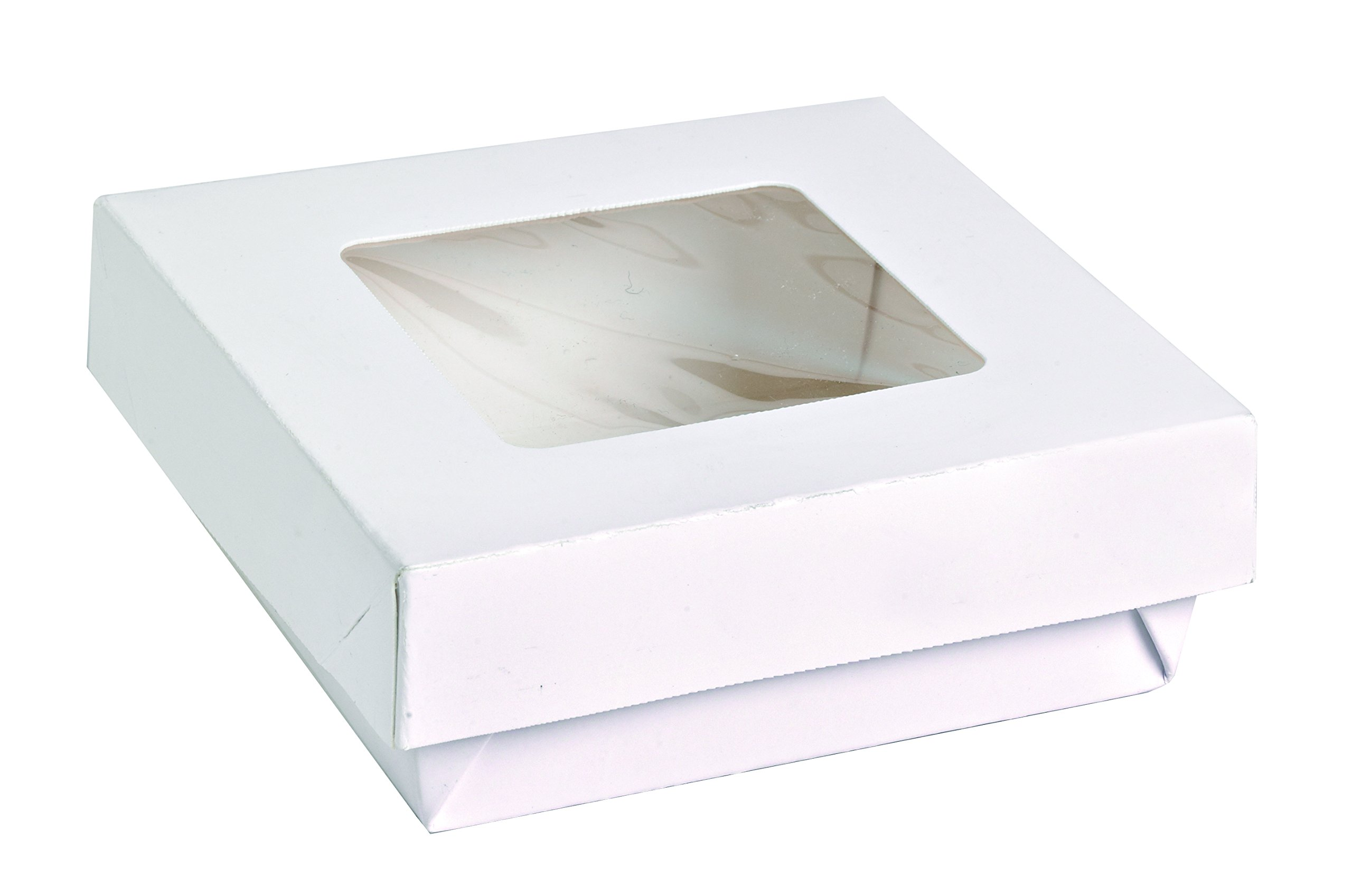 Small White Kray Box with Window Lid (Case of 250), PacknWood - Paper To Go Containers with Lid for Takeout (12 oz, 3.9'' x 3.9'' x 1.6'') 210KRAYWH115
