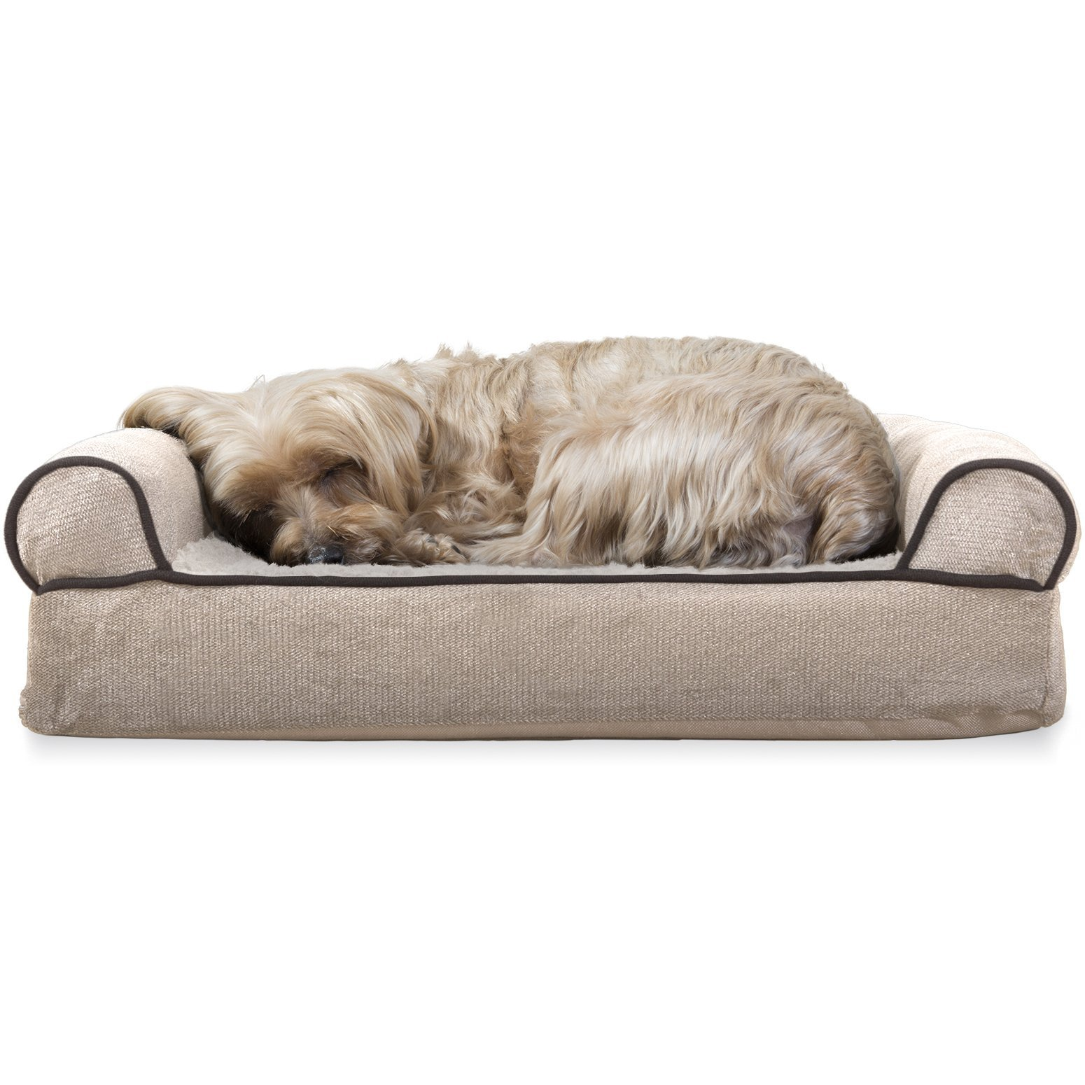 Furhaven Pet Dog Bed   Orthopedic Faux Fleece & Chenille Sofa-Style Couch Pet Bed for Dogs & Cats, Cream, Small