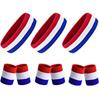 Sweat Headband & Wristband for Men Women, Highly Absorbent Cotton Terry Cloth Sweatbands, Non-Slip Sports Band with American Flag Color for Ourdoor Exercise, Gym, Tennis, Basketball, Yoga