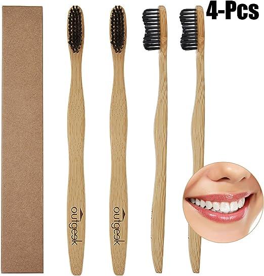 JUSTDOLIFE 4PCS Cepillo de Dientes Manual de Bambú Cepillo de ...