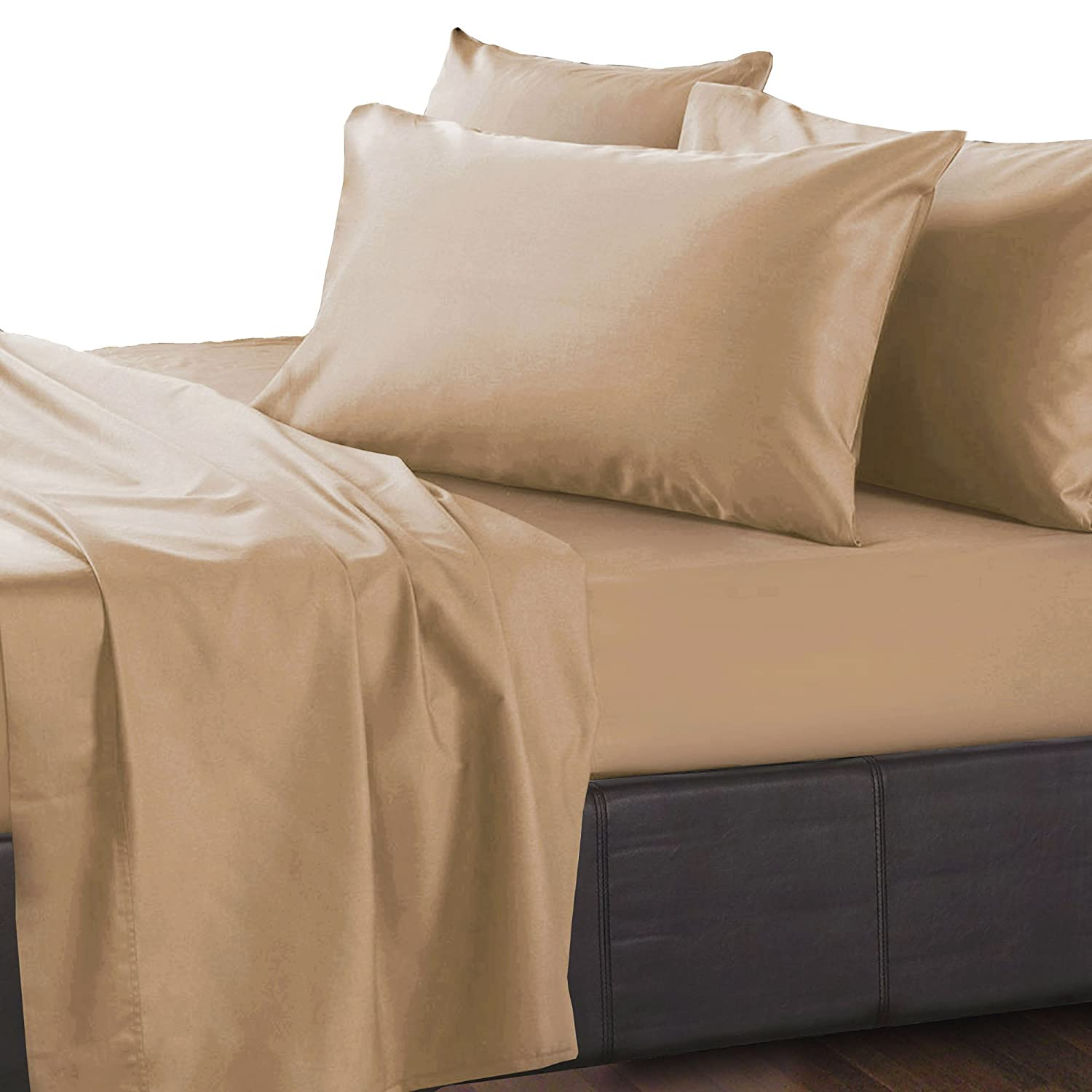 Gray Essina Queen Bed Sheet Set 4pc Royale Collection Solid Color Egyptian Cotton 950 Thread Count Deep Pocket Queen Sheet