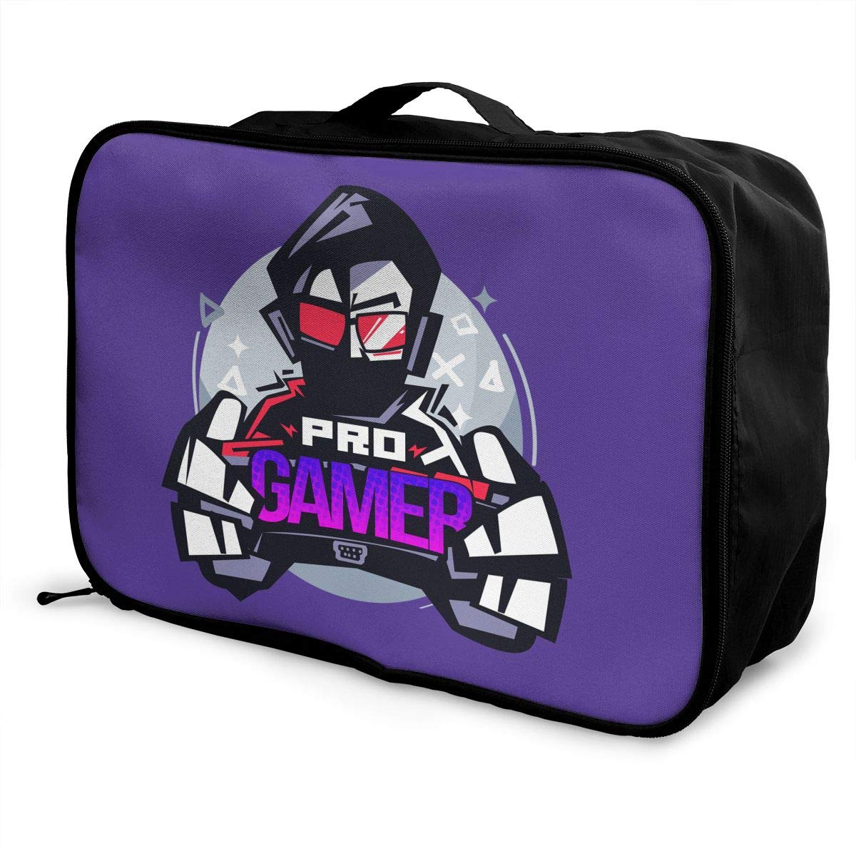 Gamer Logo Portable Carry On Luggage Bag For Travel Camping Sport White Travel Duffel Bag Waterproof Lightweight Large Capacity Duffel Tote Bag Pro Gamer