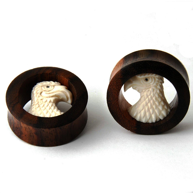 Pair Sono Wood EAGLE Design Ear Plug Gauges (16 Millimeters) by JewelryVolt (Image #2)
