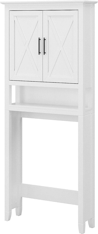 Bush Furniture Key West Bathroom Over The Toilet Storage Cabinet, White Ash