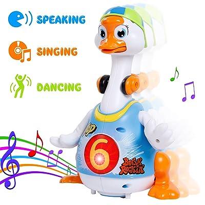 SGILE Pingouin de Jouet Électrique Sonore Oie Hip-Hop Ballant Éducatif pour Enfant Bébé