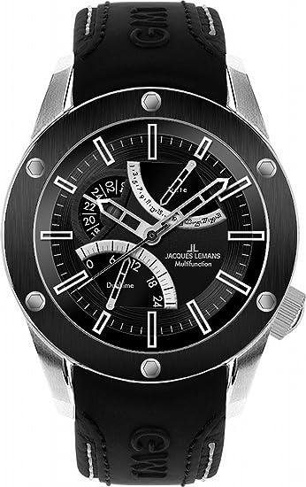 Jacques Lemans Liverpool GMT - Reloj analógico de caballero de cuarzo con correa de piel negra