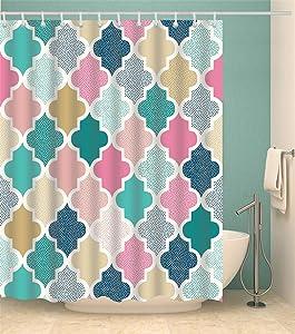 Shower Curtain Set with Hooks Geometric Pattern Trellis Vibrant Colorful Decor Bathroom Waterproof Polyester Fabric Bathroom Accessories Bath Curtain