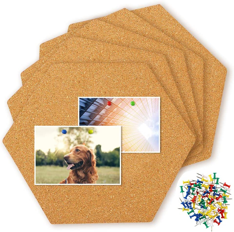 Hangnuo 5 PCS Hexagon Cork Tiles Self-Adhesive Mini Wall Bulletin Boards for Pictures Notes Office and Home Decor, 80 PCS Pushpins