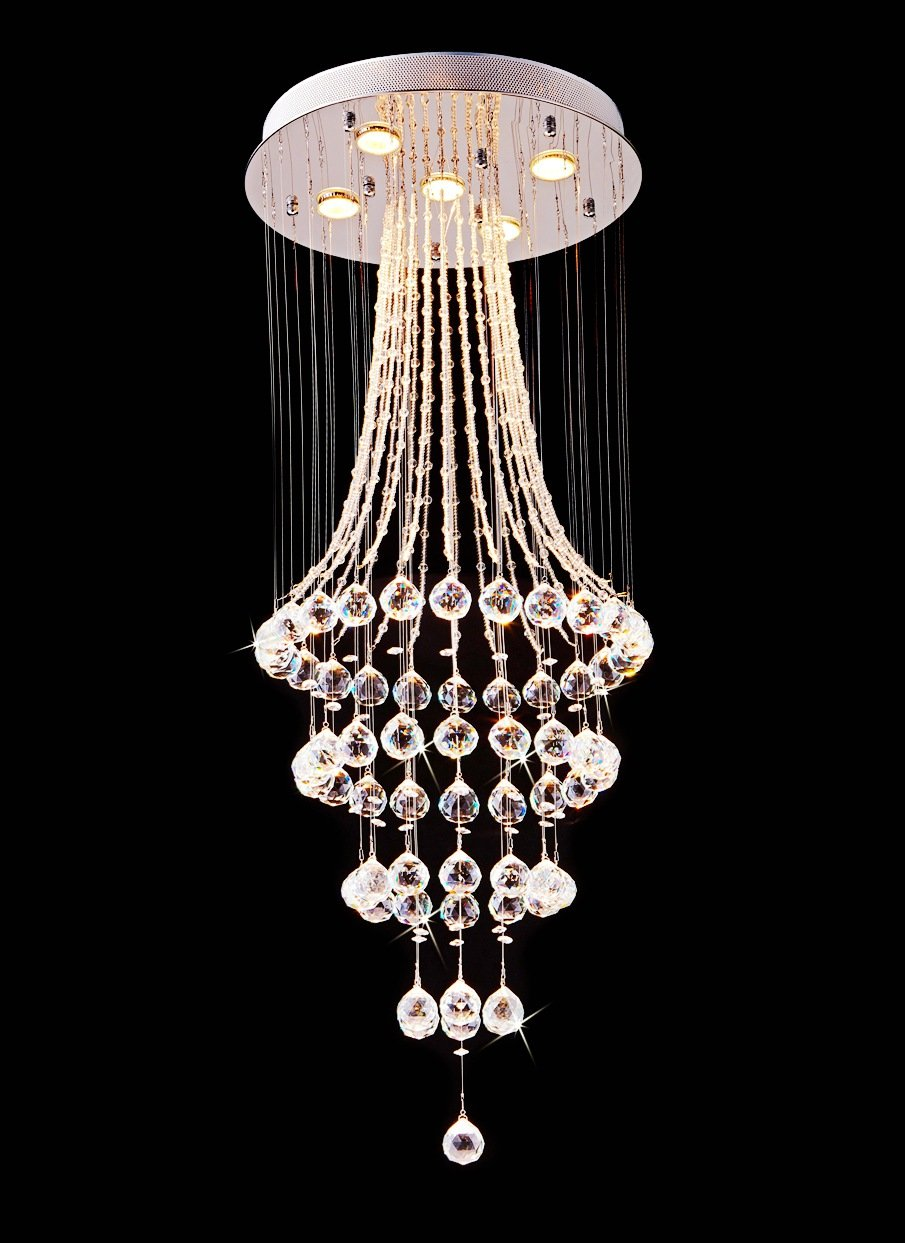 Saint Mossi Chandelier Modern K9 Crystal Raindrop Chandelier Lighting Flush mount LED Ceiling Light Fixture Pendant Lamp for Dining Room Bathroom Bedroom Livingroom 5 GU10 Bulbs Required H43'' X D18'' by Saint Mossi