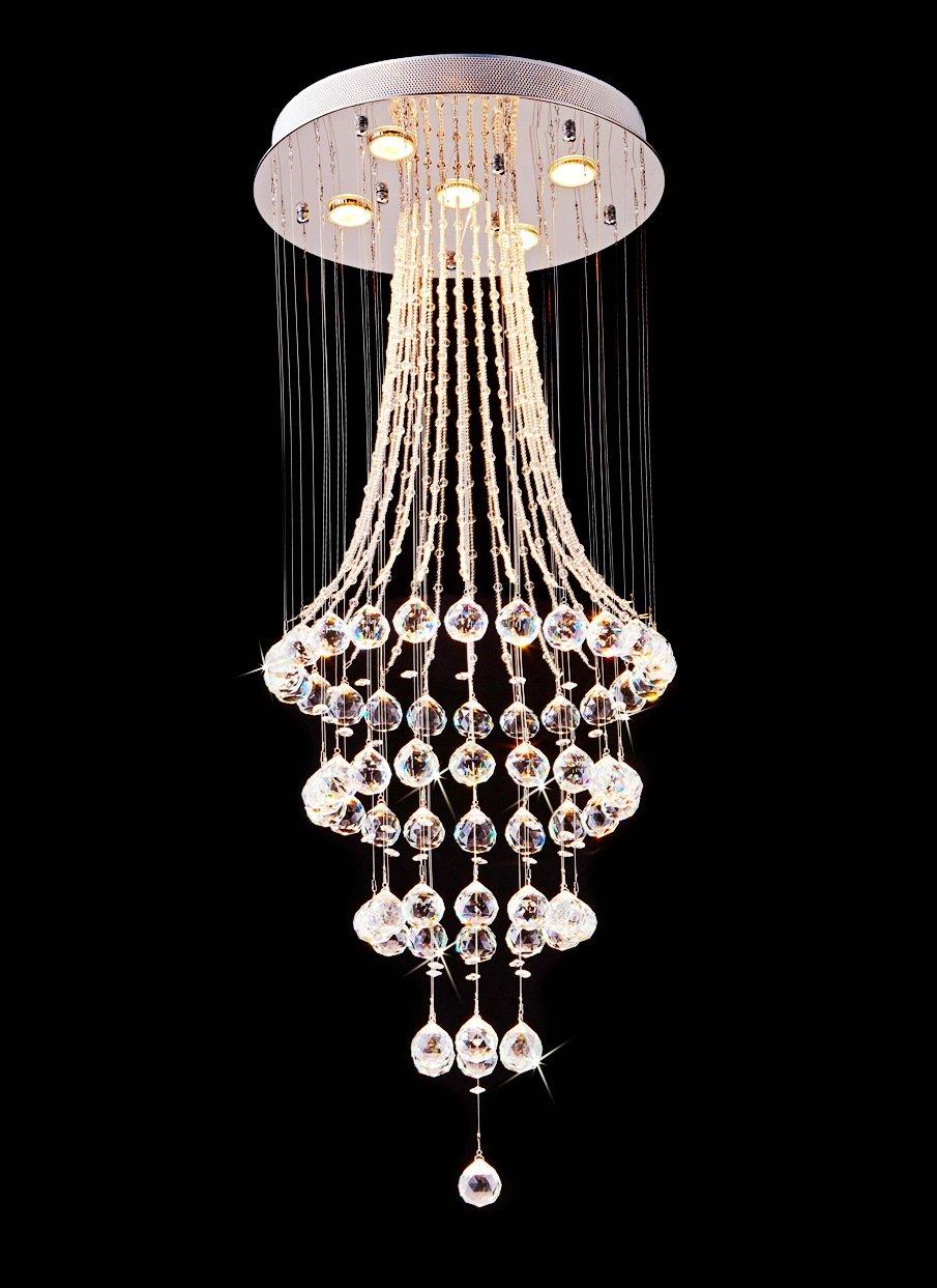 Saint Mossi Chandelier Modern K9 Crystal Raindrop Chandelier Lighting Flush mount LED Ceiling Light Fixture Pendant Lamp for Dining Room Bathroom Bedroom Livingroom 5 GU10 Bulbs Required H43'' X D18''