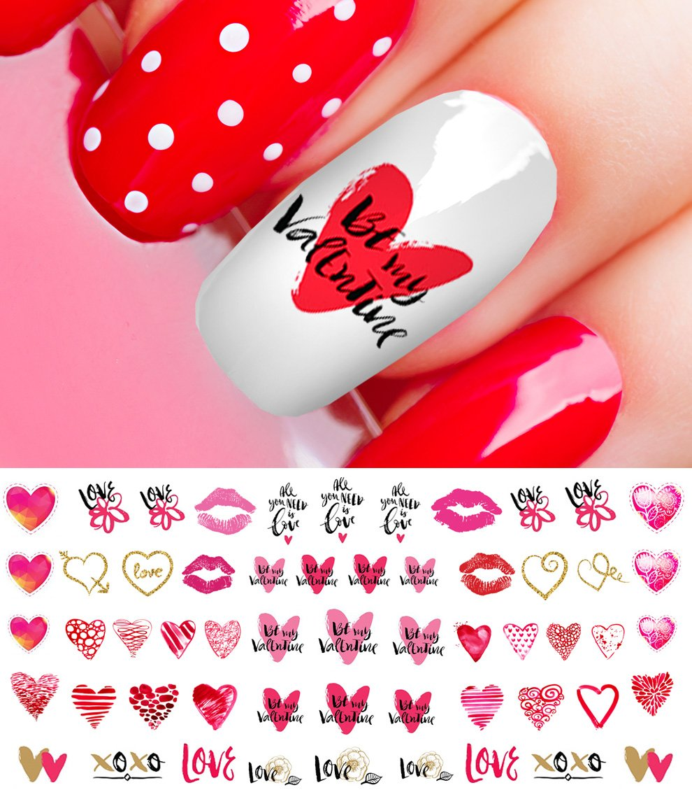 Amazon.com: Valentine Nail Art Decals. Valentine Hearts, Boy, Girl ...