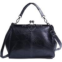 Freie Liebe Women Vintage Top Handle Bag Retro PU Leather Handbag Purse Kiss Lock Crossbody Shoulder Bag