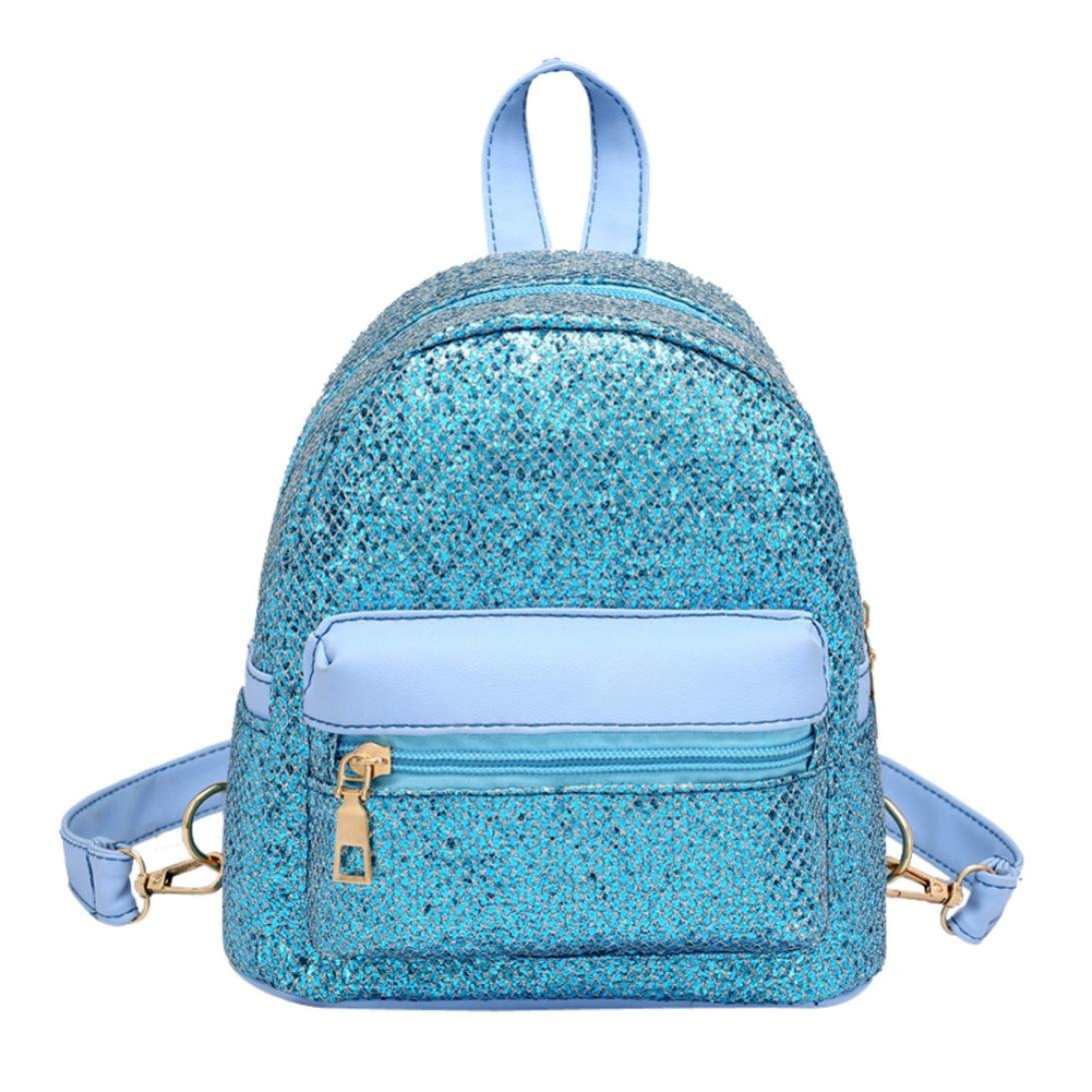 37ad0ed3f1 Amazon.com  MaxFox Women Crossbody Bag Girl Fashion Bling Sequins Mini  Backpack Travel Rucksack School Messenger Chest Pack Bag Handbag (Sky Blue)   Home   ...