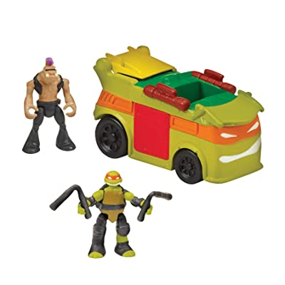 "Teenage Mutant Ninja Turtles Micro Mutant Party Van with 1.15"" Scale Super Ninja Michelangelo and Bebop Figures and Vehicle: Toys & Games"