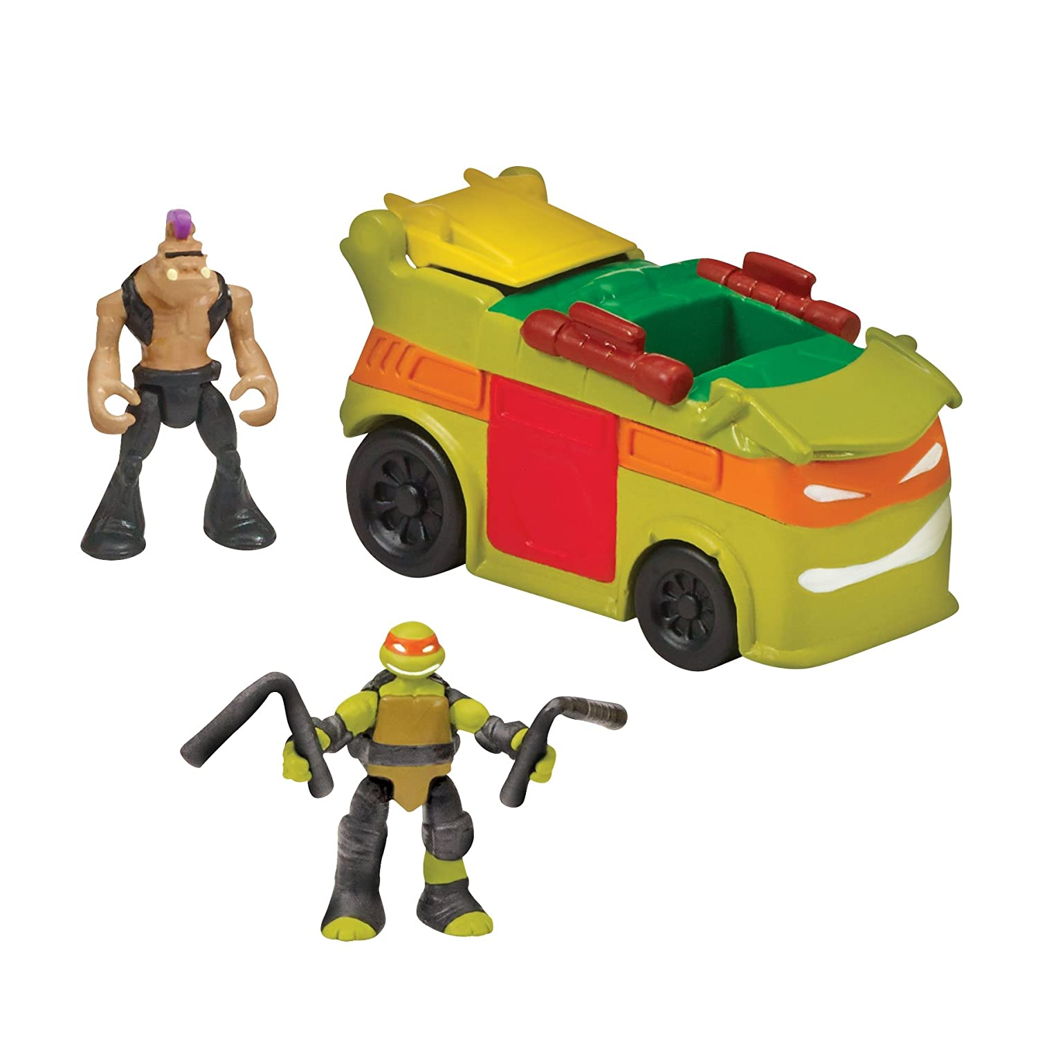 "Teenage Mutant Ninja Turtles Micro Mutant Party Van with 1.15"" Scale Super Ninja Michelangelo and Bebop Figures and Vehicle"