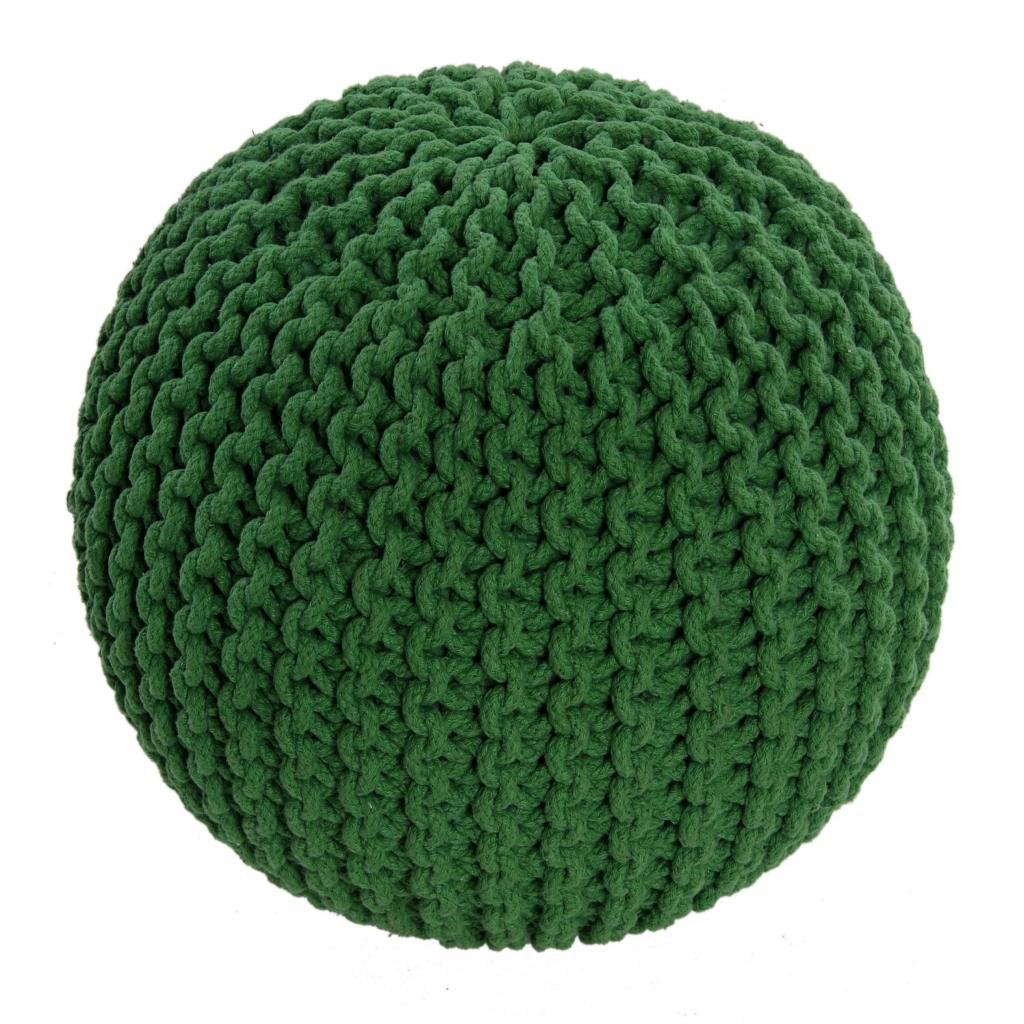 Homescapes Green Knitted Pouffe Footstool Bean Filled 100% Cotton Living Room Children the Elderly