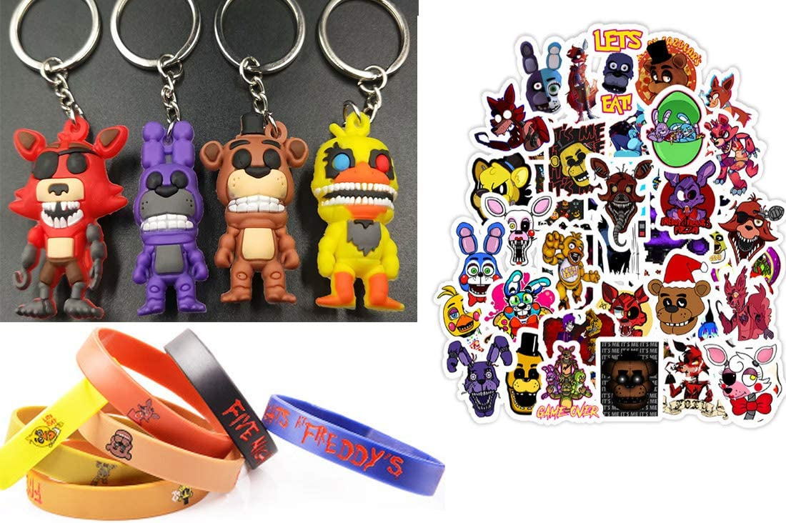 Keychain Charms Figures Set /& Paper Stickers Party Supplies Favors Inspired by Five Nights of Freddys Bangle Set