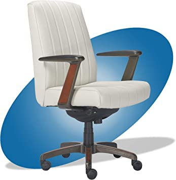 Amazon Com La Z Boy Bennett Modern Executive Lumbar Support Rich Wood Inlay High Back Ergonomic Office Chair Bonded Leather White Furniture Decor