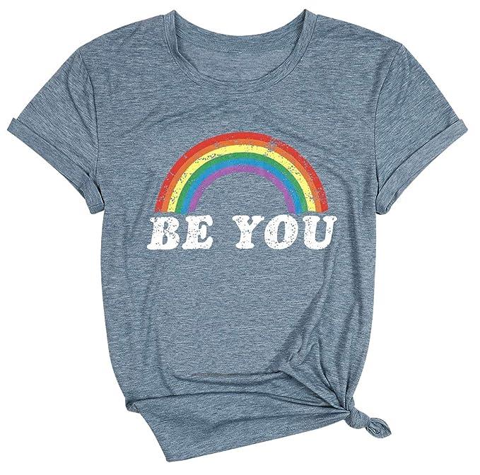 Orgullo camiseta para mujer con diseño de arcoíris con texto en inglés