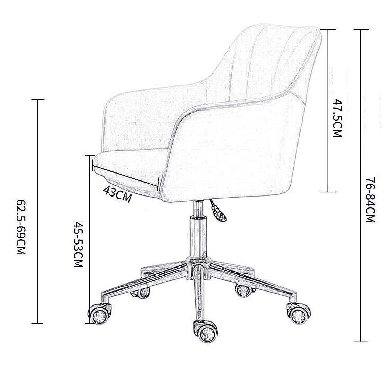 LIYANJJ kontorsskrivbordsstol, PU och sammetstyg justerbar rullande uppgift stol med ryggstöd för barberare, kontor, hem, dator, 360° vridbar, med arm nr7