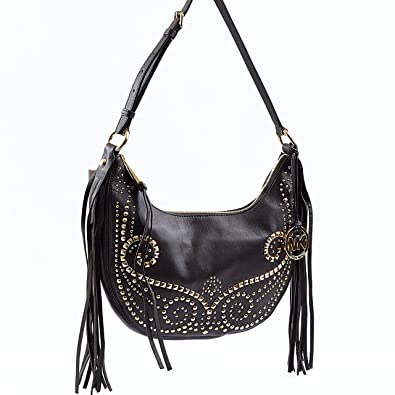 michael kors rhea studded small slouchy shoulder bag in dark rh amazon com
