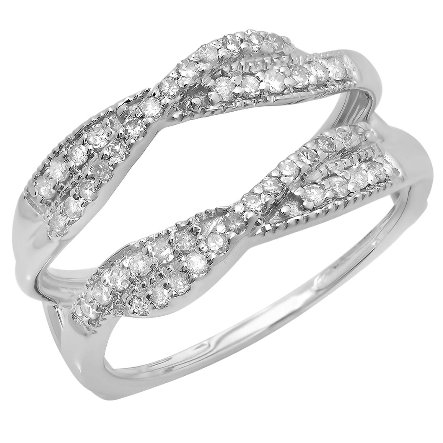 Dazzlingrock Collection 0.40 Carat (ctw) 14K Round Cut Diamond Wedding Swirl Enhancer Guard Double Ring, White Gold, Size 8