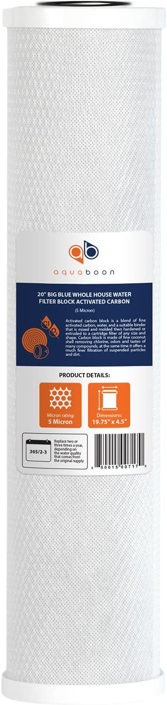Aquaboon Big Blue Coconut Shell Water Filter Cartridge   Activated Carbon Block CTO   Universal Whole House 5 Micron 20 inch Cartridge   Compatible with EPM-20BB, CB-BB-20, 155783-43, FC25B (1)