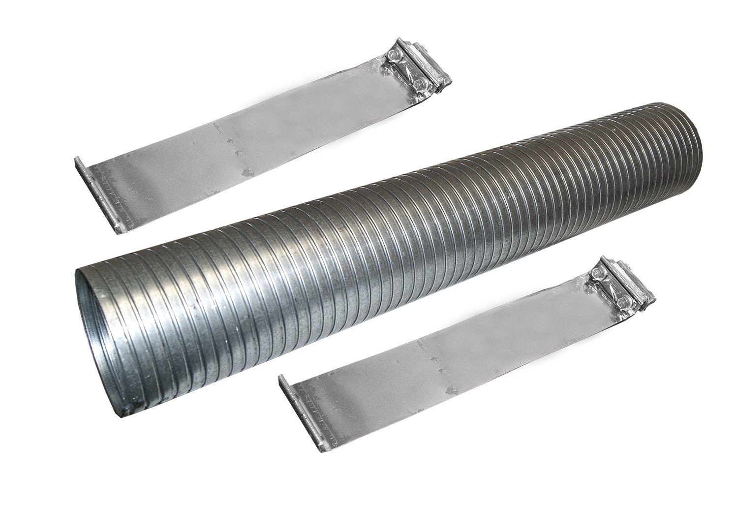 48' Galvanized Flexible Exhaust Tubing 5' Diameter Flex Pipe with 2 Band Clamps Heavy Duty Manufacturing
