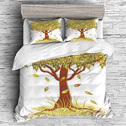 Green Brown 30 X 20 inches Decorative Standard Queen Size Printed Pillowcase Single Autumn Tree with Falling Leaves Season Symbol Fall Design Art Living Tree of Life Pillow Sham