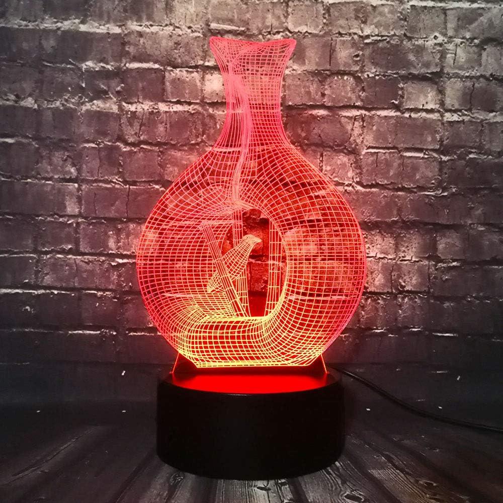 Ilusión Óptica 3D Luz Nocturna Luz Led Pájaro En Jaula Florero 7 Colores Interruptor Táctil,Luz Del Estado De Ánimo Para Niños Lámpara De Mesa De Cabecera Remota Regalo De Cumpleaños Para Niños