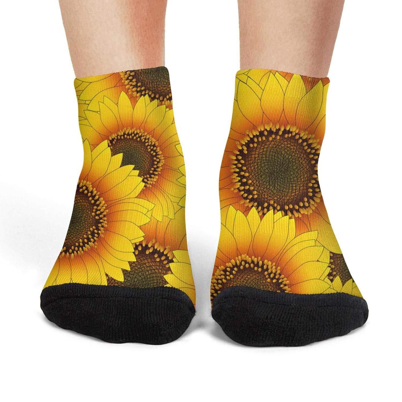 Mens athletic low cut Ankle sock Orange yellow sunflower seamless Non-Slip Comfort Short Sock