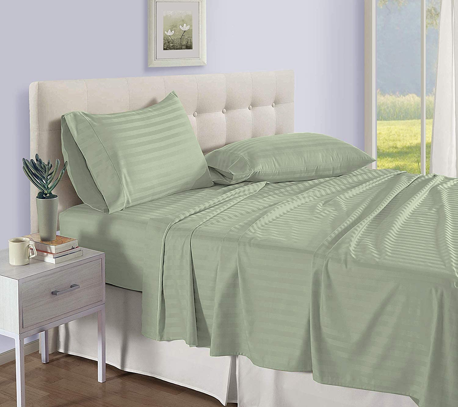 Divatex Home Fashions ThreadoLuxs Luxurious 800 Thread Count Four 4 Piece Queen Size Sage Stripe Bed Sheet Set, 100% Egyptian Cotton, 12