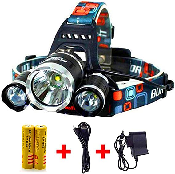 Details about  /350000LM 5 LED  Headlamp Rechargeable Headlights Flashlight Head Torch Light RK