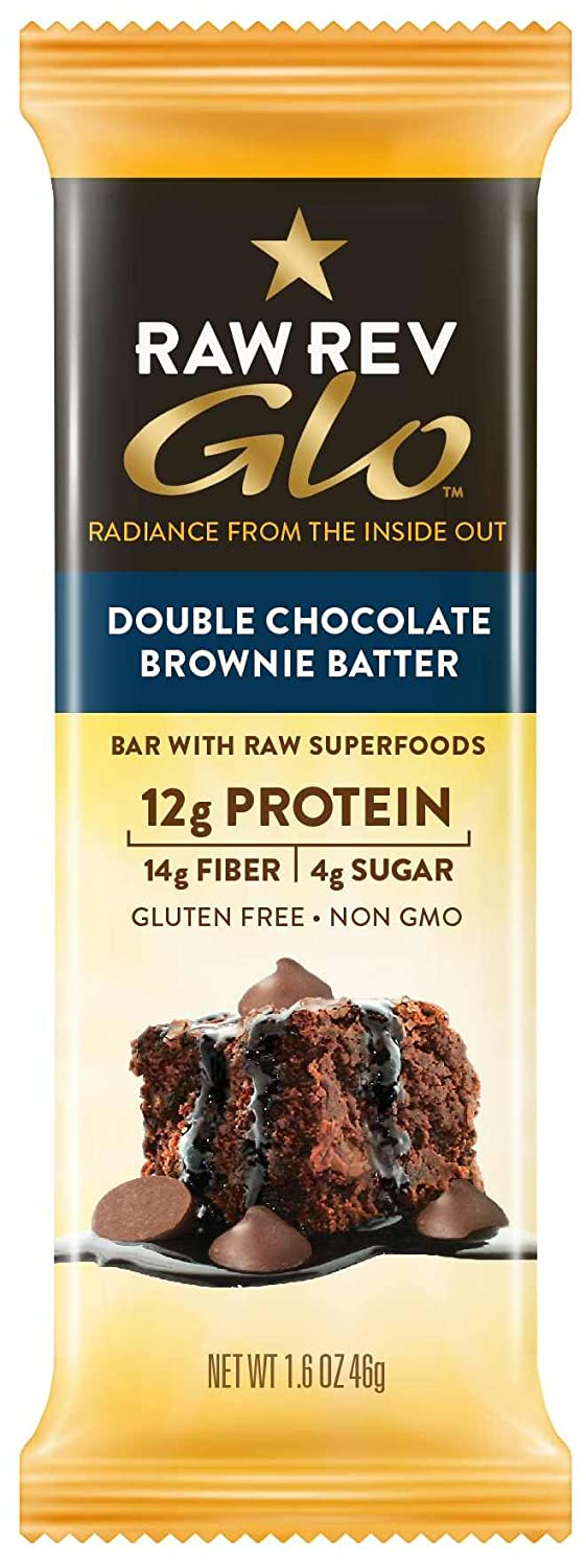 Raw Rev Glo Protein Bars, Double Chocolate Brownie Batter, 1.6 Ounce Bar (pack Of 12)