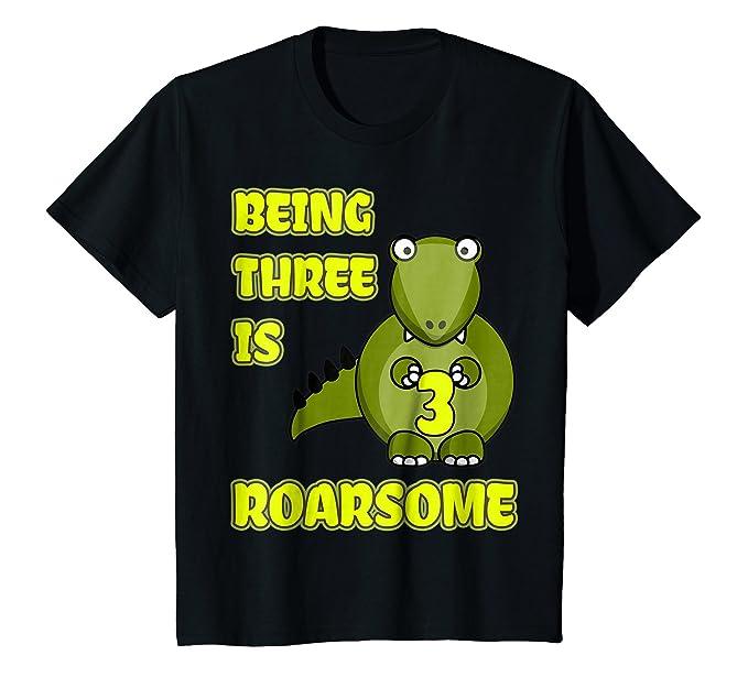 Kids Dinosaur Birthday Shirt 3 Year Old 3rd BDay Boys Girls 4 Black
