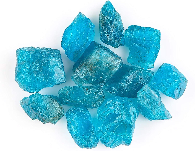 OOAK Piedras preciosas naturales suministra cristales de apatita de neón crudo en bruto, roca natural, piedras preciosas sueltas, piedras preciosas y cristales de energía energética, 50 quilates