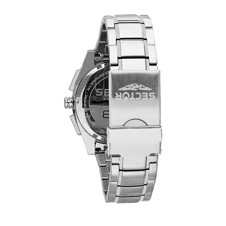 4fb685fd556 SECTOR NO LIMITS Herren Chronograph Quarz Uhr mit Edelstahl Armband  R3273803001  Amazon.de  Uhren