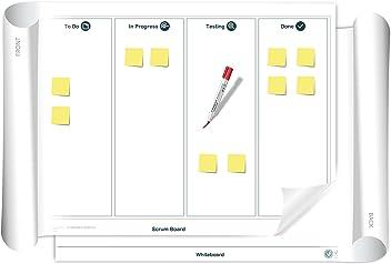 Vi-Board Scrum Board/Whiteboard: beidseitig beschreib- & abwischbares mobiles Whiteboard, einroll- & wiederverwendbar, Vorderseite: Scrum Vorlage, Rückseite: Whiteboard, Größe: ca. 85 x 118 cm