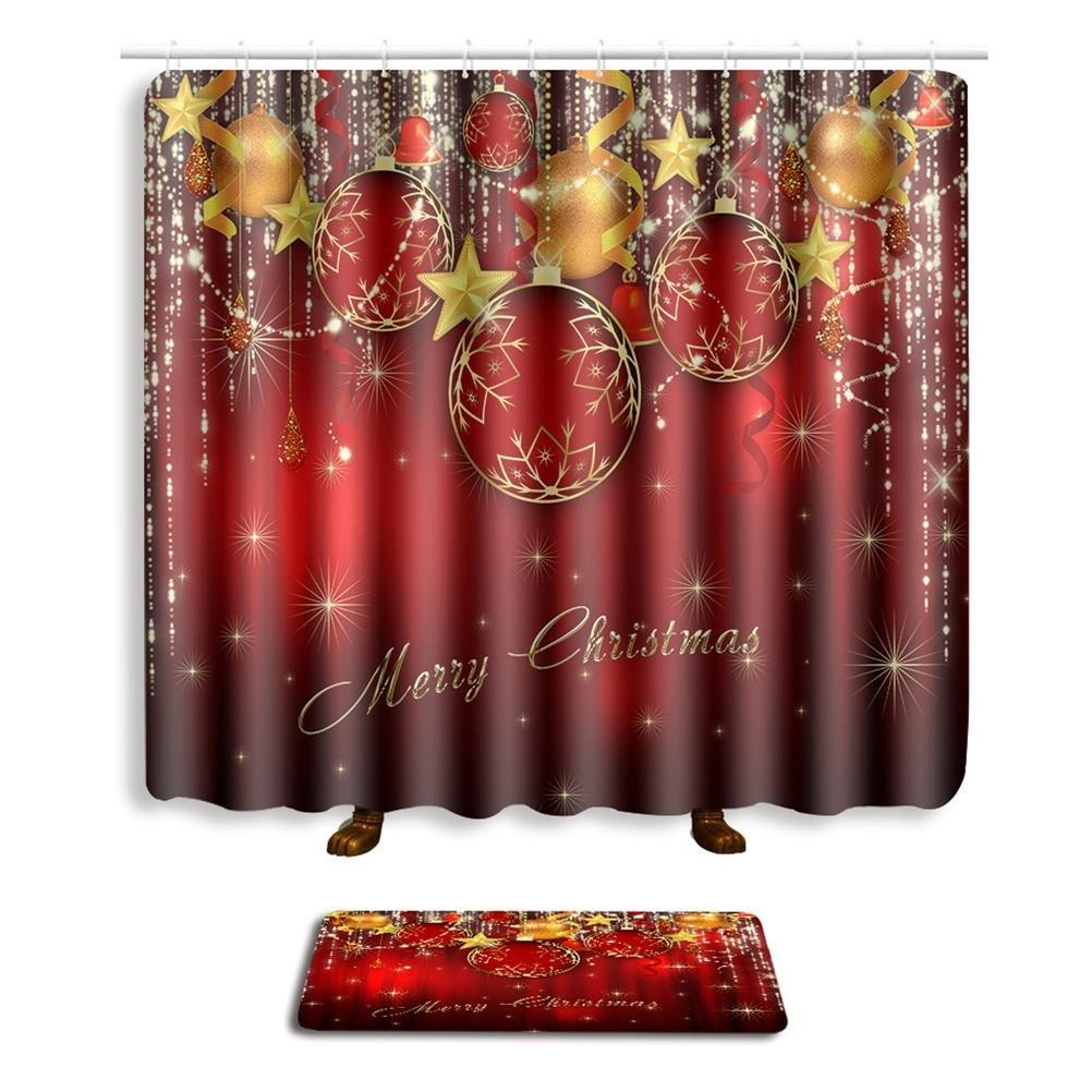 Weihnachten Duschvorhang Und Matte Sets Bad Zubehör Heiligabend Mit ...