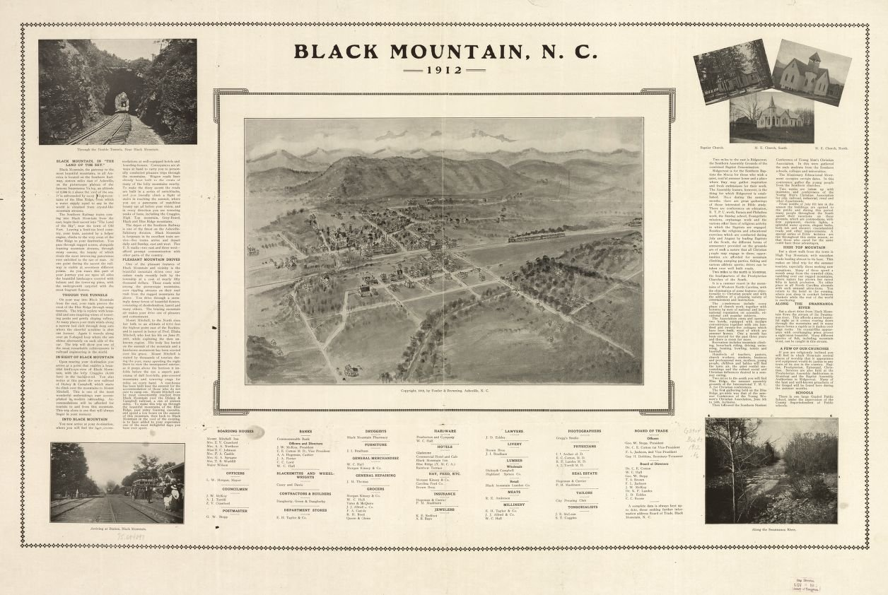 8 x 12 Reproduced Photo Vintgage Old Perspective Birds Eye View Map Drawing Black Mountain, N.C. 1912. [Fowler, T. M. (Thaddeus Mortimer)] 1842-1922.Fowler & Browning. c1912.