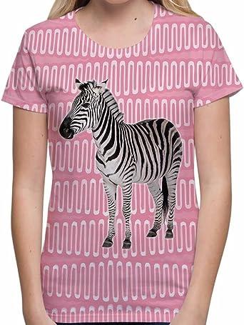 Camisetas Totalmente Impresas por sublimación para Mujer de Zebra Rosa Tops de Verano con Dibujos para Mujer: Amazon.es: Ropa y accesorios
